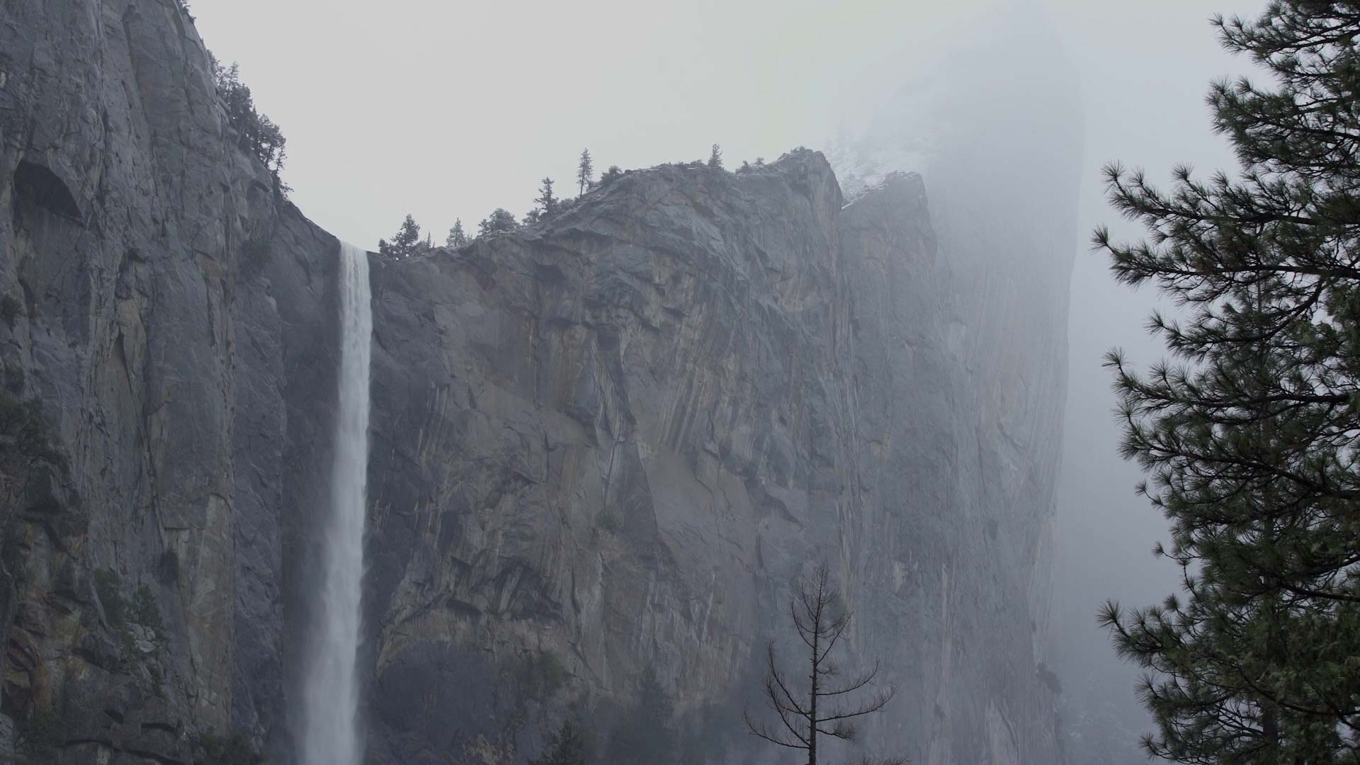 A video still from a recent video project - this image shows a waterfall at yosemite national park