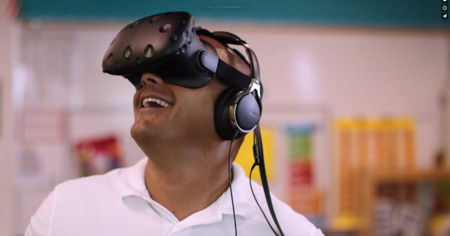 Man with VR headset. Still image from a recent video created for Essilor