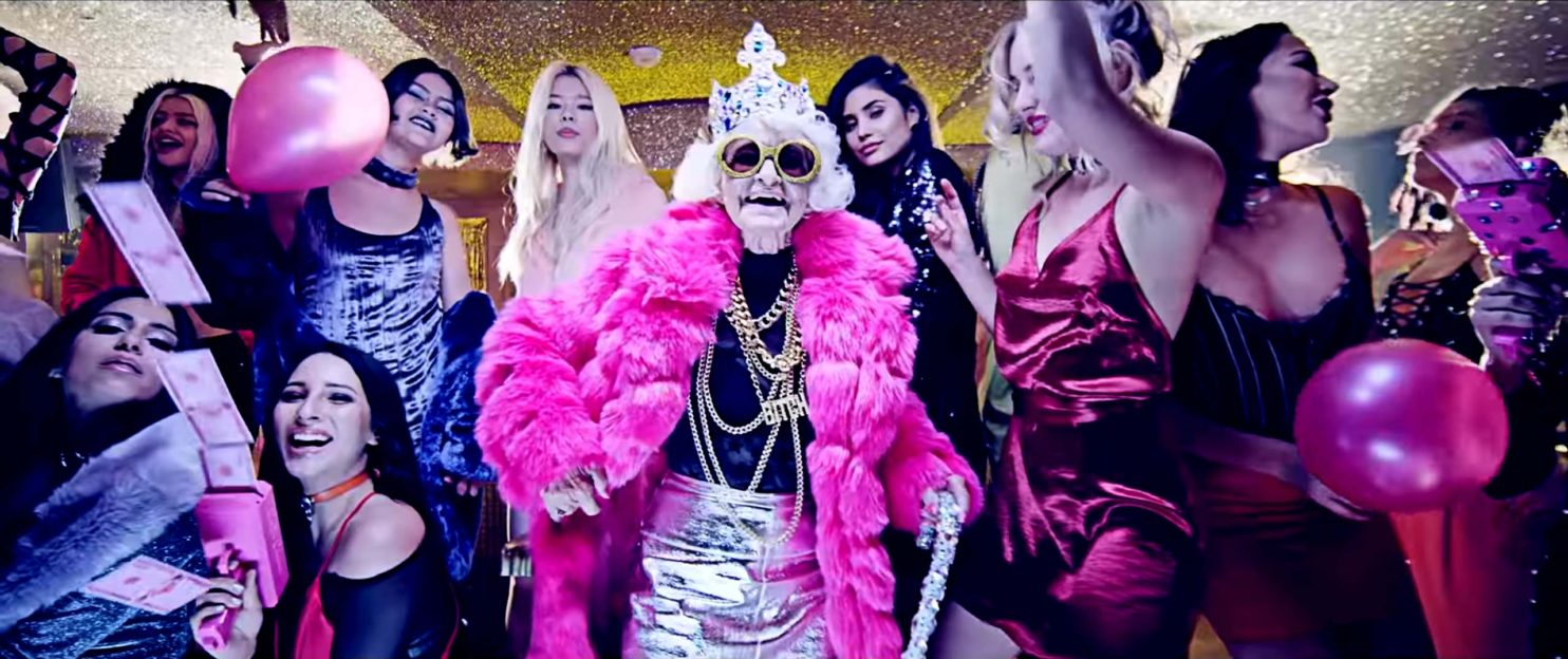 Still from a recent video production by Smirnoff starring Baddie Winkle